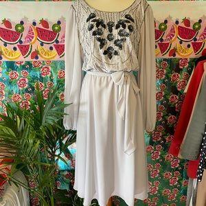 Vintage Jack Ryan Beaded Sequin Silk Chiffon Gown